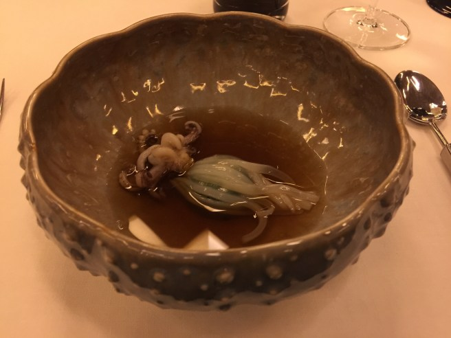 Squid, prawns, peanuts and dashi