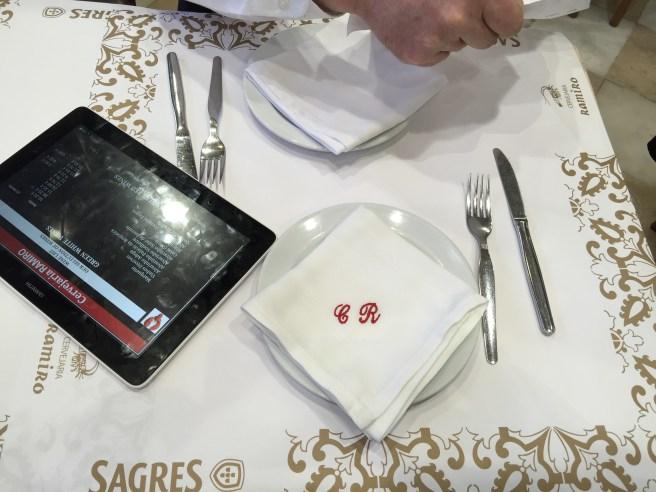 table set up. menu on tablet