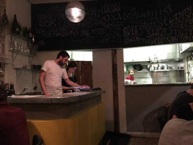 Chef Maxime Tischenko and waitress