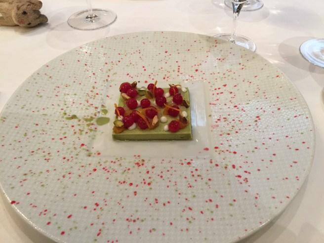 Pistachio, orange marmalade, cranberries