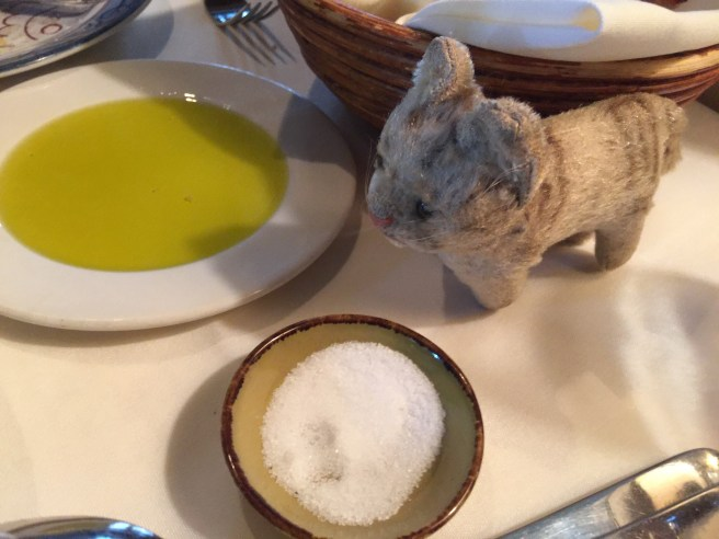 Frankie checked out the olive oil for dipping and salt on the table