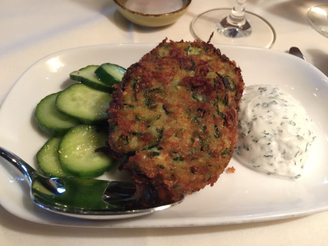 Zucchini Cakes: with cucumber and mint yogurt dressing