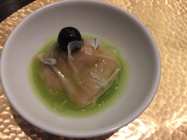 Sea urchin in tofu wrapper