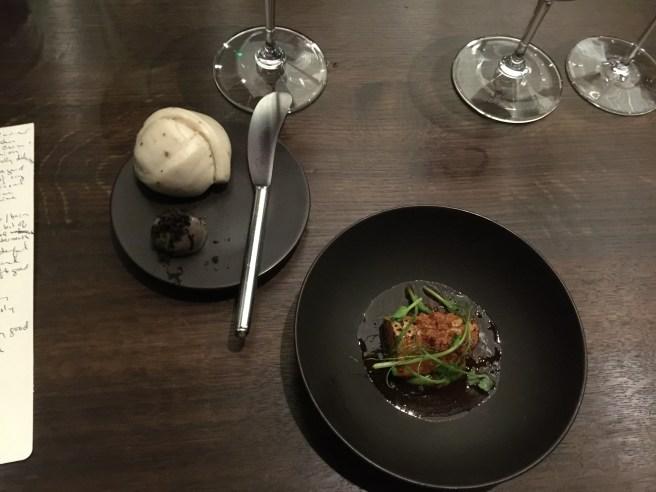 bamboo shoot, spring garlic, frmented pepper, black truffle bun