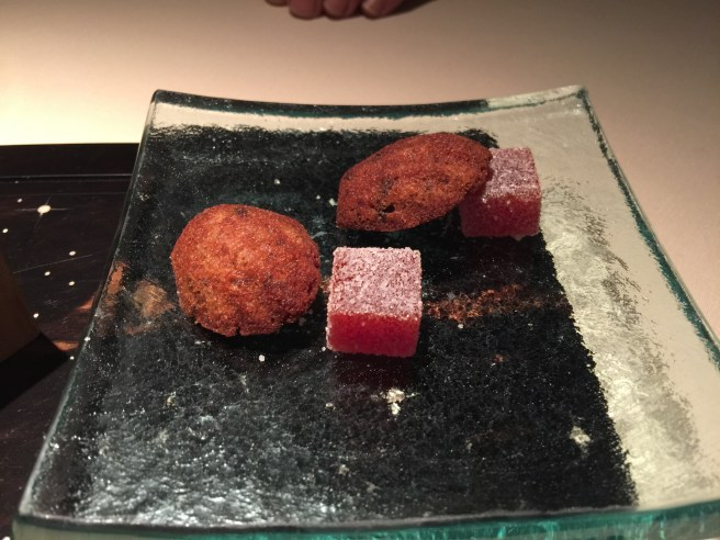 olive madeleine and red pepper gel