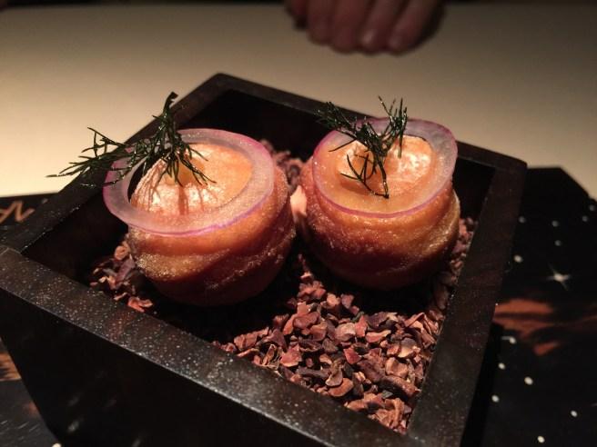 Savory blood orange beignet