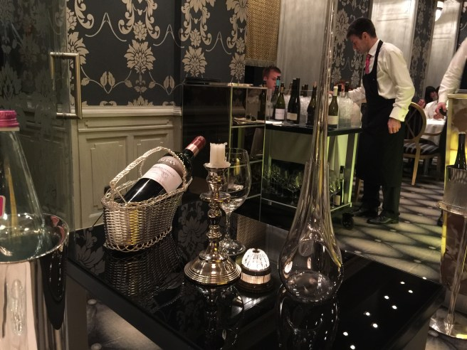 red wine decanting cart