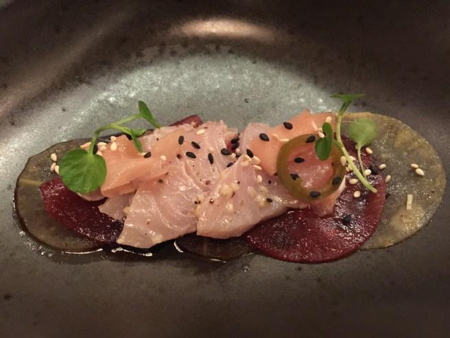 Hamachi sashimi, turnip, homemade yogurt