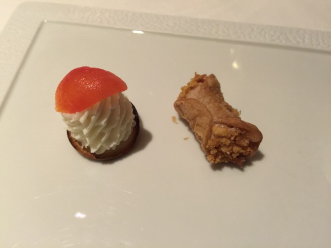 fresh ricotta cheese with tomato; foie gras cannoli