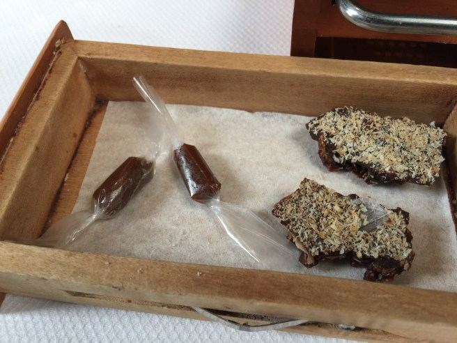Chewy in edible rice paper and Cocnut milk chocolate