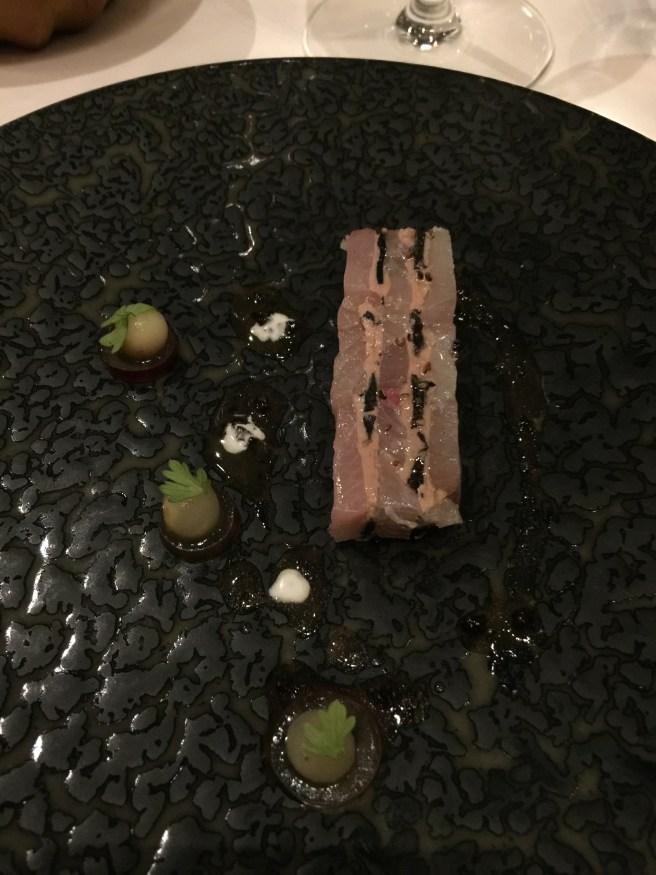 Compressed Hamachi with black truffle, foie gras terrine and celery