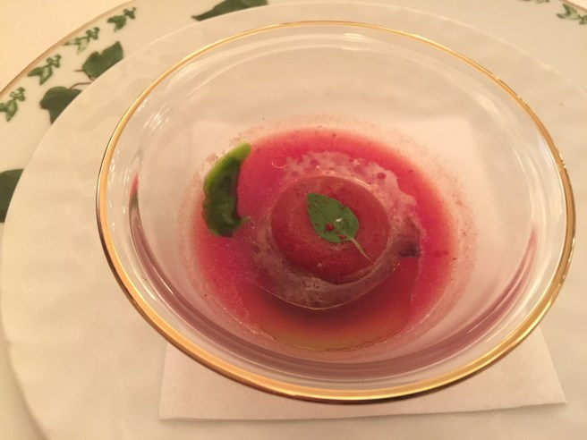 Amuse: red bell pepper coulis - mild