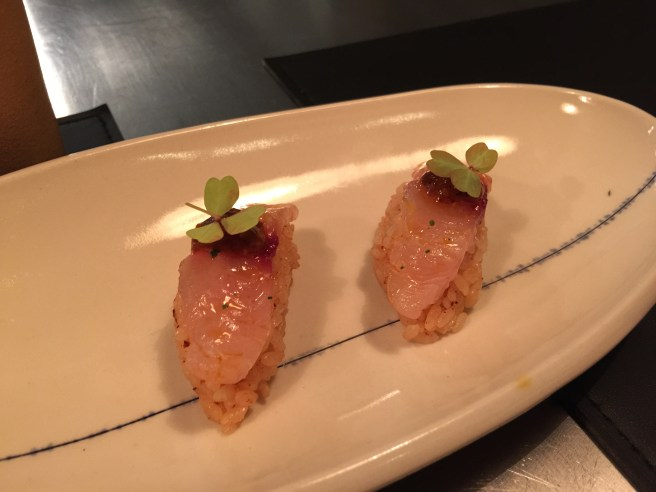 Mackerel Nigiri with salsa borracha