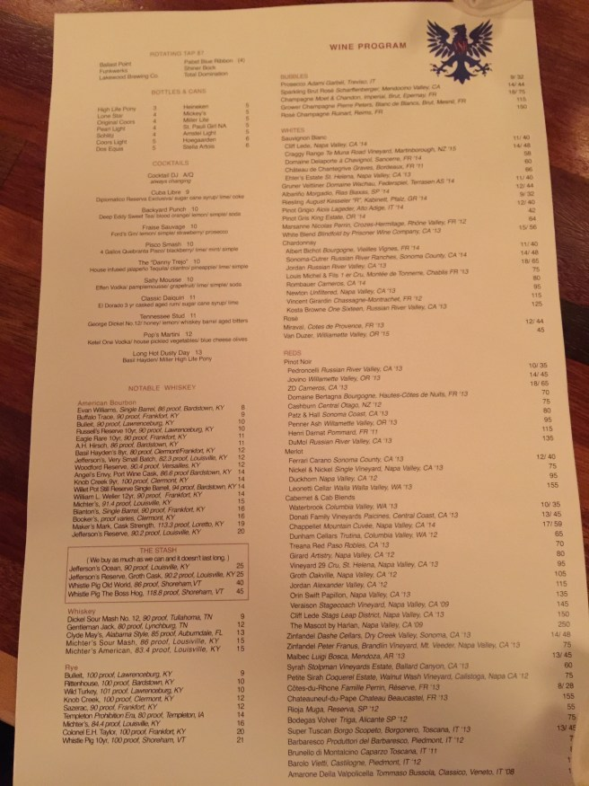 drinks list