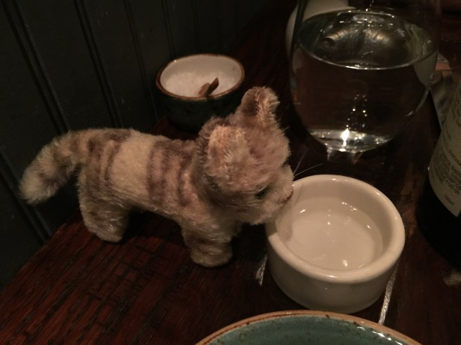 The thoughtful waitress brought Frankie a bowl of her own!
