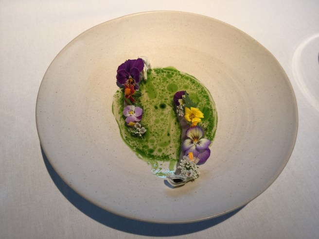 Lightly pickled mackerel from the Oslo fjord with ramson and summer offerings