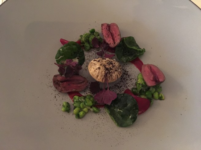 Duck liver and heart with beet roots and peas