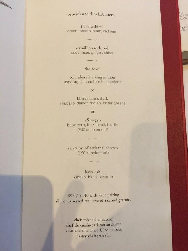 Dine LA menu