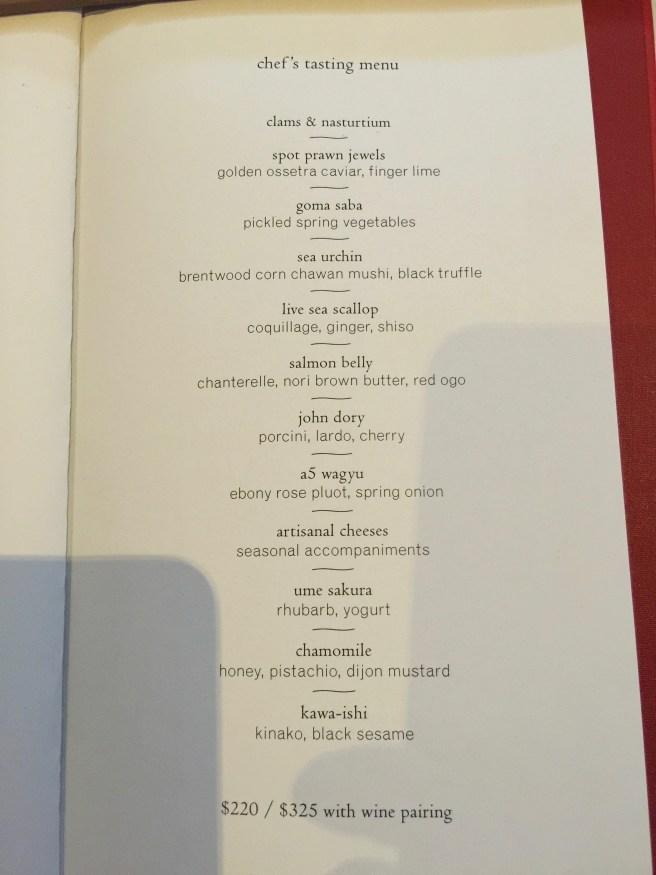 Chef's menu