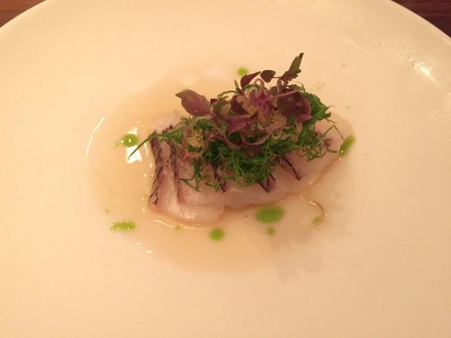 Madai carpaccio: Japanese sea bream, citrus, olive oil, myoga