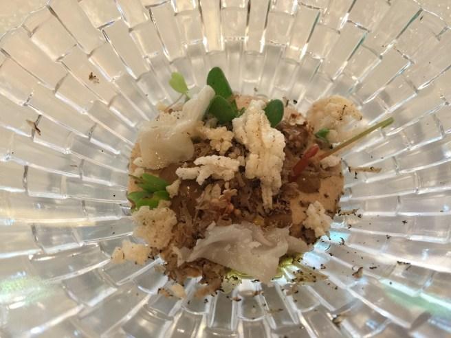 Wild mushroom crema, pickled Texas elderflower, summer truffles, lardo