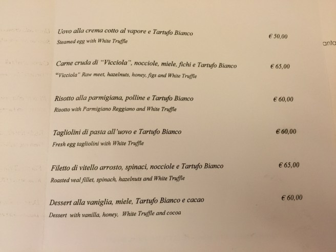 truffle supplements menu