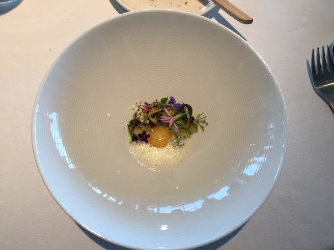 """Wild herbs, leek, smoked port fat and melted """"Vesterhavs"""" cheese"""