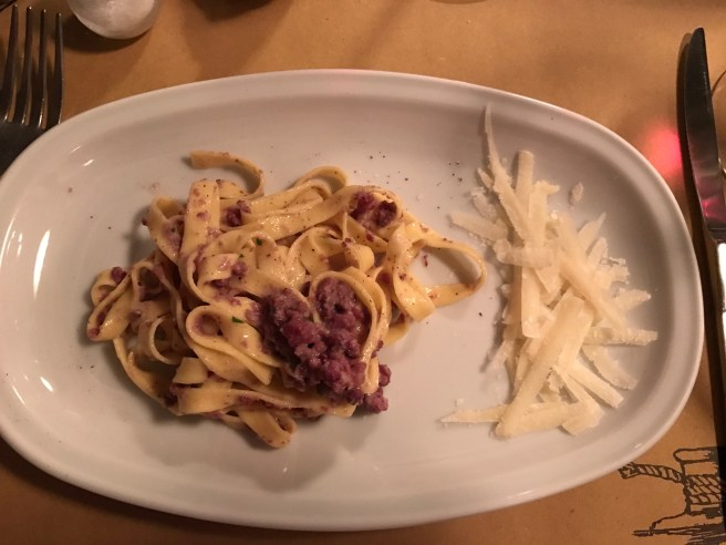 Tagliatelle alla Porcara- with pork products