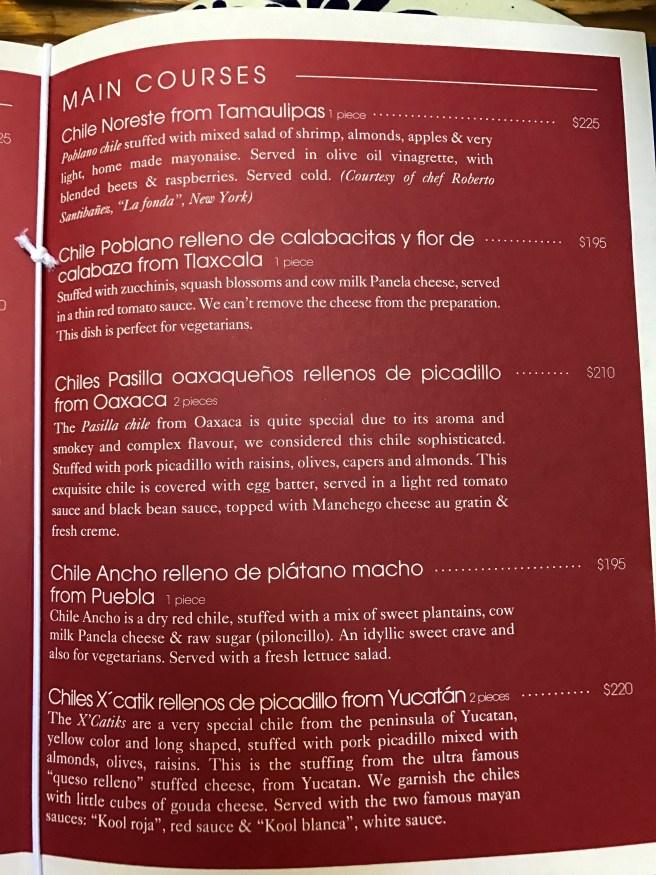 main courses menu