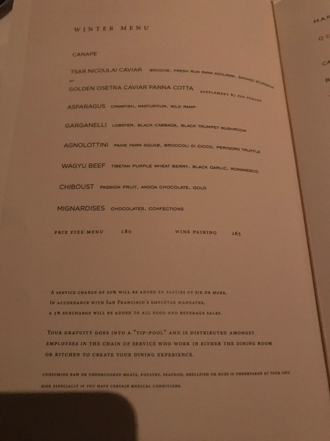 Winter tasting menu