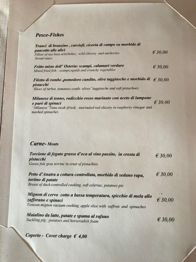 fish and meat menu