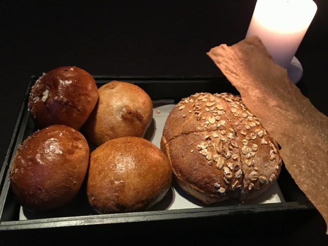Roll made with malt and spices, manitoba with oats and beer, flat bread with rye and brown butter