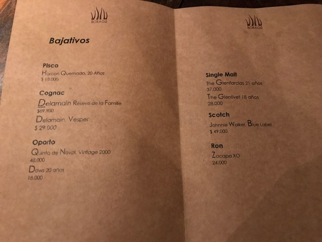 after dinner drink menu