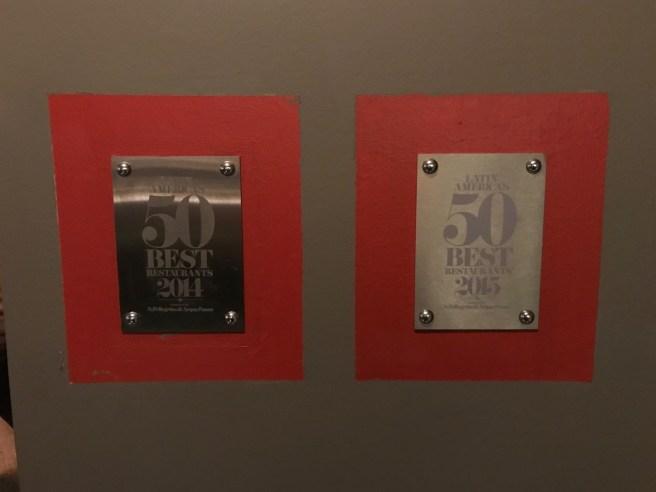 some awards hung