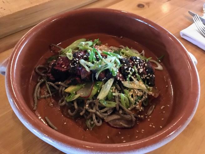 Steak and Soba Noodle Salad: Yuzu vinaigrette, seasonal veggies