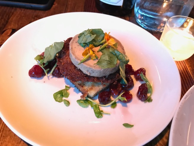 Foie Gras special with bacon croquette and cherries