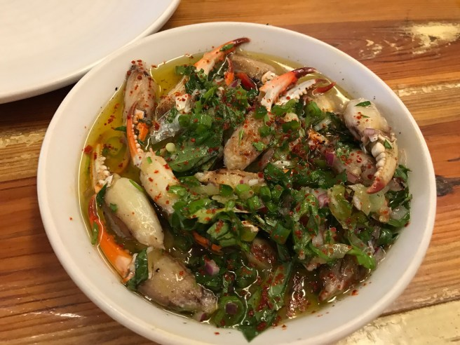 Crab claws with pickled chilies