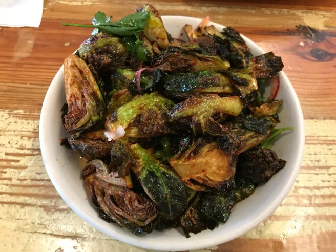 Fried brussels sprouts with chili vinegar