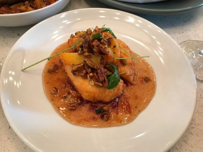 Crispy Halloumi: peaches, smoked Turkish chilies, pecans