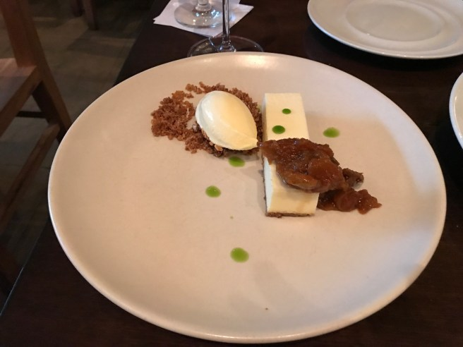 Ricotta bavarian tart with preserved fits, oat crumble and fig leaf ice cream