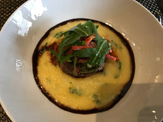 Beef: Seared hampe of Scotch beef with ox tongue ballotine, polenta, chorizo and apricot