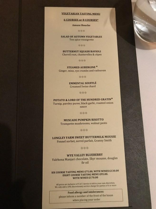 vegetarian tasting menu