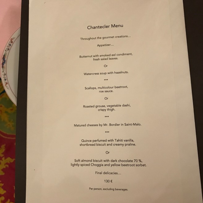 Chantecler Tasting Menu
