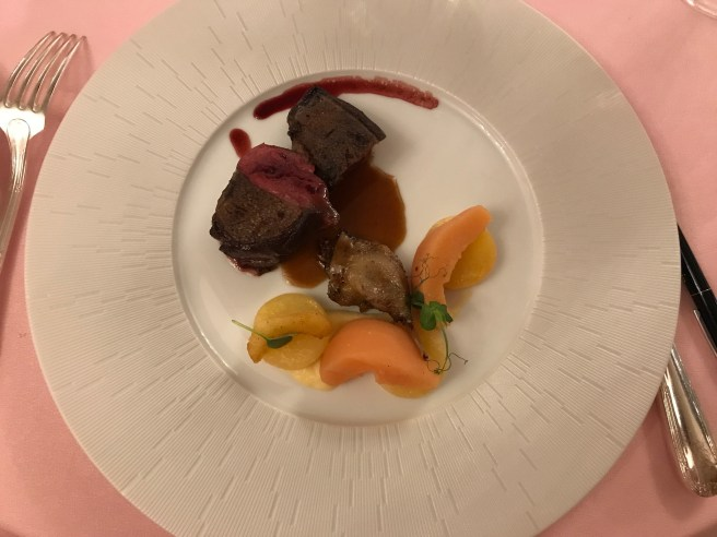 Roasted mallard duck with honey and spices, winter vegetables