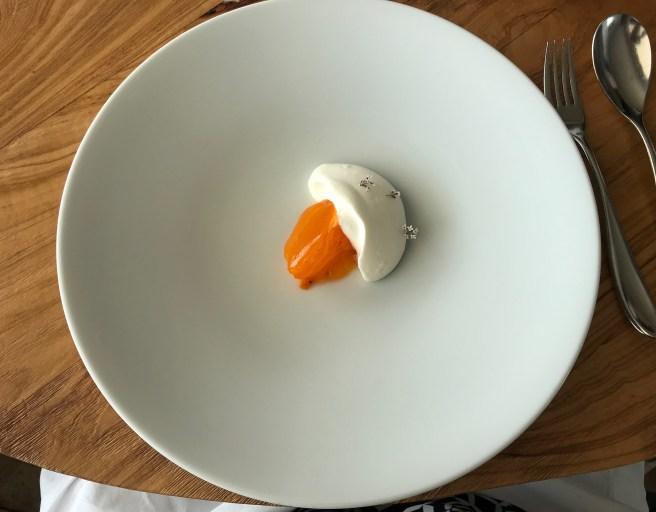 Persimmon with Armagnac cream Samalens, rosemary flower