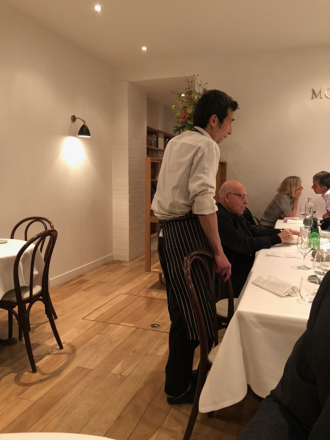 Chef visits with his guests