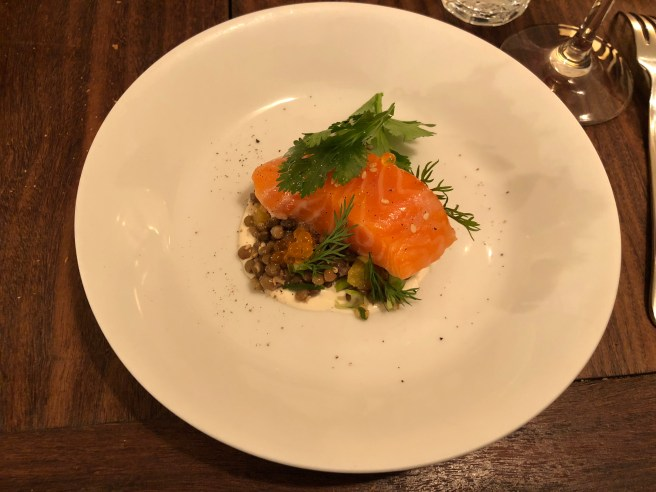 Lentilles/Saumon/Creme a l'orange: lentils and salmon with orange cream