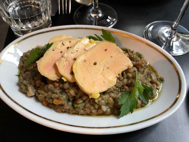 foie gras and lentils