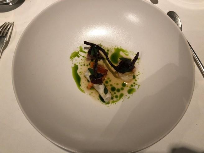 Haddock, smoked eel, tartare of sea bream, Casteltownbere shrimp, yuzu