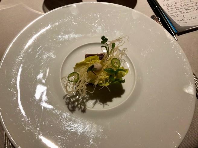 Sesame crusted tuna tataki with jalapeno mayonnaise and crispy katafi